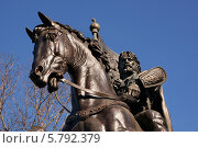 Купить «Памятник Дмитрию Донскому, крупный план, город Москва», эксклюзивное фото № 5792379, снято 5 апреля 2014 г. (c) Dmitry29 / Фотобанк Лори