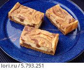 Купить «чизкейк с шоколадом и арахисовым маслом на синей тарелке», фото № 5793251, снято 16 августа 2018 г. (c) Food And Drink Photos / Фотобанк Лори