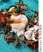 Купить «яйцо пашот с грибами на голубой тарелке, крупный план», фото № 5793803, снято 29 января 2013 г. (c) Food And Drink Photos / Фотобанк Лори