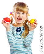 Девочка с пасхальными яйцами. Стоковое фото, фотограф Андрей Затулло / Фотобанк Лори