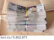 Стопка денег на фоне чертежей. Стоковое фото, фотограф Евгений Кулагин / Фотобанк Лори