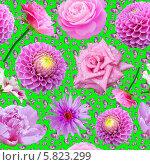 Купить «Бесшовный фон с цветами и бабочками», иллюстрация № 5823299 (c) Наталья Спиридонова / Фотобанк Лори