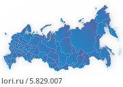 Купить «Синяя карта России с регионами, на белом фоне», иллюстрация № 5829007 (c) megastocker / Фотобанк Лори