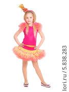Девочка в желто-розовом костюме конфеты, фото № 5838283, снято 10 декабря 2013 г. (c) Сергей Сухоруков / Фотобанк Лори