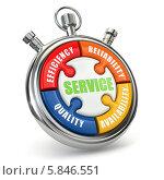 Купить «Пазл в форме секундомера со словом Service. 3d», иллюстрация № 5846551 (c) Maksym Yemelyanov / Фотобанк Лори