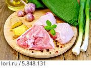 Купить «Нарезанные куриные бедра со специями на деревянной разделочной доске и свежий зеленый лук на деревянном столе», фото № 5848131, снято 7 июня 2013 г. (c) Резеда Костылева / Фотобанк Лори