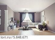 Купить «Дизайн современного интерьера, гостиная в серых тонах. 3d-изображение», иллюстрация № 5848671 (c) Виктор Застольский / Фотобанк Лори