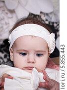 Маленькая девочка (6 месяцев) разглядывает бантик на своей одежде. Стоковое фото, фотограф Евгения Семенова / Фотобанк Лори