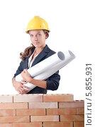 Купить «Женщина-строитель или архитектор с чертежами», фото № 5855931, снято 27 июля 2012 г. (c) Elnur / Фотобанк Лори