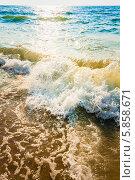 Купить «Волны у песчаного берега на закате», фото № 5858671, снято 10 августа 2013 г. (c) g.bruev / Фотобанк Лори
