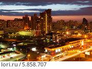 Купить «Закат над Москвой. Проспект Вернадского, вид сверху», фото № 5858707, снято 28 апреля 2014 г. (c) Наталья Волкова / Фотобанк Лори