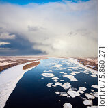 Купить «Ледоход на большой реке», фото № 5860271, снято 6 декабря 2013 г. (c) Владимир Мельников / Фотобанк Лори