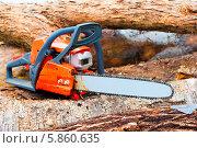 Купить «Бензопила крупным планом на поваленных деревьях», фото № 5860635, снято 6 марта 2014 г. (c) Константин Лабунский / Фотобанк Лори