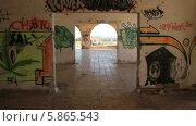Купить «Заброшенный лепрозорий изнутри, городок Абадес на острове Тенерифе, Канарские острова», видеоролик № 5865543, снято 3 мая 2014 г. (c) Roman Likhov / Фотобанк Лори