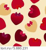 Купить «Бесшовный фон с сердечками на день святого Валентина», иллюстрация № 5880231 (c) Юлия Гапеенко / Фотобанк Лори