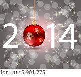 Купить «Надпись 2014 на блестящем сером фоне», иллюстрация № 5901775 (c) Юлия Гапеенко / Фотобанк Лори