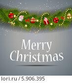 Купить «Абстрактный рождественский фон с поздравлением и елочными игрушками на ветке», иллюстрация № 5906395 (c) Юлия Гапеенко / Фотобанк Лори