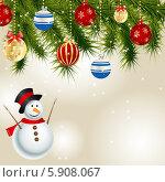 Купить «Абстрактный новогодний фон со снеговиком и елочными игрушками», иллюстрация № 5908067 (c) Юлия Гапеенко / Фотобанк Лори