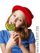 Девочка с леденцом. Стоковое фото, фотограф Елена Медведева / Фотобанк Лори