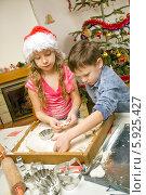 Купить «Дети вырезают из теста печенье формочками, готовя угощение к Рождеству», фото № 5925427, снято 23 марта 2019 г. (c) BE&W Photo / Фотобанк Лори
