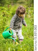 Купить «Девочка поливает цветы из лейки», фото № 5931003, снято 14 мая 2014 г. (c) Оксана Ковач / Фотобанк Лори