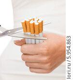 Ножницы режут сигареты, зажатые в руке. Борьба с курением. Стоковое фото, фотограф Syda Productions / Фотобанк Лори