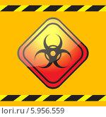 Предупреждающий знак биологической опасности на квадратной табличке на желтом фоне с предупреждающими полосками. Стоковая иллюстрация, иллюстратор Postolatii Natalia / Фотобанк Лори