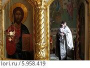 Купить «Москва. Крещение младенца, священник несет мальчика в алтаре», эксклюзивное фото № 5958419, снято 4 мая 2014 г. (c) Дмитрий Неумоин / Фотобанк Лори