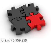 Купить «Пазлы 3D - черный и один красный», иллюстрация № 5959259 (c) Maksym Yemelyanov / Фотобанк Лори