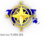 Купить «Роза ветров на карте мира», иллюстрация № 5959355 (c) Maksym Yemelyanov / Фотобанк Лори