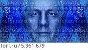 Купить «Лицо мужчины на цифровом фоне», фото № 5961679, снято 7 мая 2014 г. (c) bashta / Фотобанк Лори