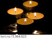 Купить «Четыре горящих чайных свечи», фото № 5964823, снято 22 января 2014 г. (c) Anton Kozyrev / Фотобанк Лори
