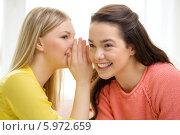 Купить «Девушка что-то говорит на ухо по секрету своей подруге», фото № 5972659, снято 12 апреля 2014 г. (c) Syda Productions / Фотобанк Лори
