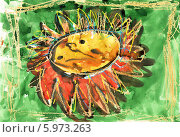 Купить «Детский рисунок. Цветок. Акварель, карандаш, пастель», эксклюзивное фото № 5973263, снято 25 июня 2019 г. (c) Валерия Попова / Фотобанк Лори