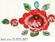 Купить «Детский рисунок. Цветок в стиле хохлома. Гуашь», эксклюзивное фото № 5973307, снято 19 декабря 2018 г. (c) Валерия Попова / Фотобанк Лори
