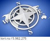 Купить «Компас роза ветров на синем фоне», иллюстрация № 5982275 (c) Maksym Yemelyanov / Фотобанк Лори