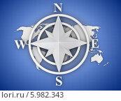 Купить «Белая компасная роза над картой мира на синем фоне», иллюстрация № 5982343 (c) Maksym Yemelyanov / Фотобанк Лори