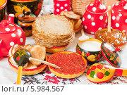Купить «Праздничный стол к Масленице - блины, оладьи и красная икра», фото № 5984567, снято 6 марта 2011 г. (c) Яков Филимонов / Фотобанк Лори