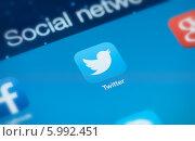 Купить «Иконка Twitter на голубом экране», фото № 5992451, снято 9 мая 2014 г. (c) Александр Лычагин / Фотобанк Лори