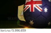 Купить «Football player kicking australia flag ball», видеоролик № 5996659, снято 20 февраля 2020 г. (c) Wavebreak Media / Фотобанк Лори
