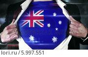 Купить «Businessman opening shirt to reveal australia flag», видеоролик № 5997551, снято 20 февраля 2020 г. (c) Wavebreak Media / Фотобанк Лори