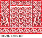 Купить «Бесшовный красный фон с абстрактными белыми цветами», иллюстрация № 6015187 (c) Альбина Типляшина / Фотобанк Лори