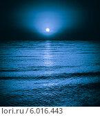 Купить «Отражение луны на поверхности моря. Лунная дорожка», фото № 6016443, снято 7 августа 2013 г. (c) g.bruev / Фотобанк Лори
