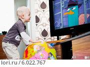 Купить «Мальчик смотрит мультики, подойдя к телевизору слишком близко», фото № 6022767, снято 25 июня 2019 г. (c) BE&W Photo / Фотобанк Лори