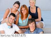 College student friends group smiling portrait. Стоковое фото, фотограф CandyBox Images / Фотобанк Лори