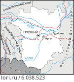 Купить «Карта Чеченской Республики», иллюстрация № 6038523 (c) VectorImages / Фотобанк Лори