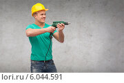 Купить «smiling manual worker in helmet with drill machine», фото № 6044591, снято 17 июня 2019 г. (c) Syda Productions / Фотобанк Лори