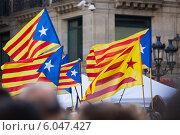Купить «Flying Catalonia flags», фото № 6047427, снято 23 июня 2014 г. (c) Яков Филимонов / Фотобанк Лори
