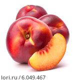 Купить «Nectarine fruit isolated on white background cutout», фото № 6049467, снято 23 августа 2013 г. (c) Natalja Stotika / Фотобанк Лори