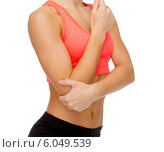 Купить «sporty woman with pain in elbow», фото № 6049539, снято 8 мая 2014 г. (c) Syda Productions / Фотобанк Лори